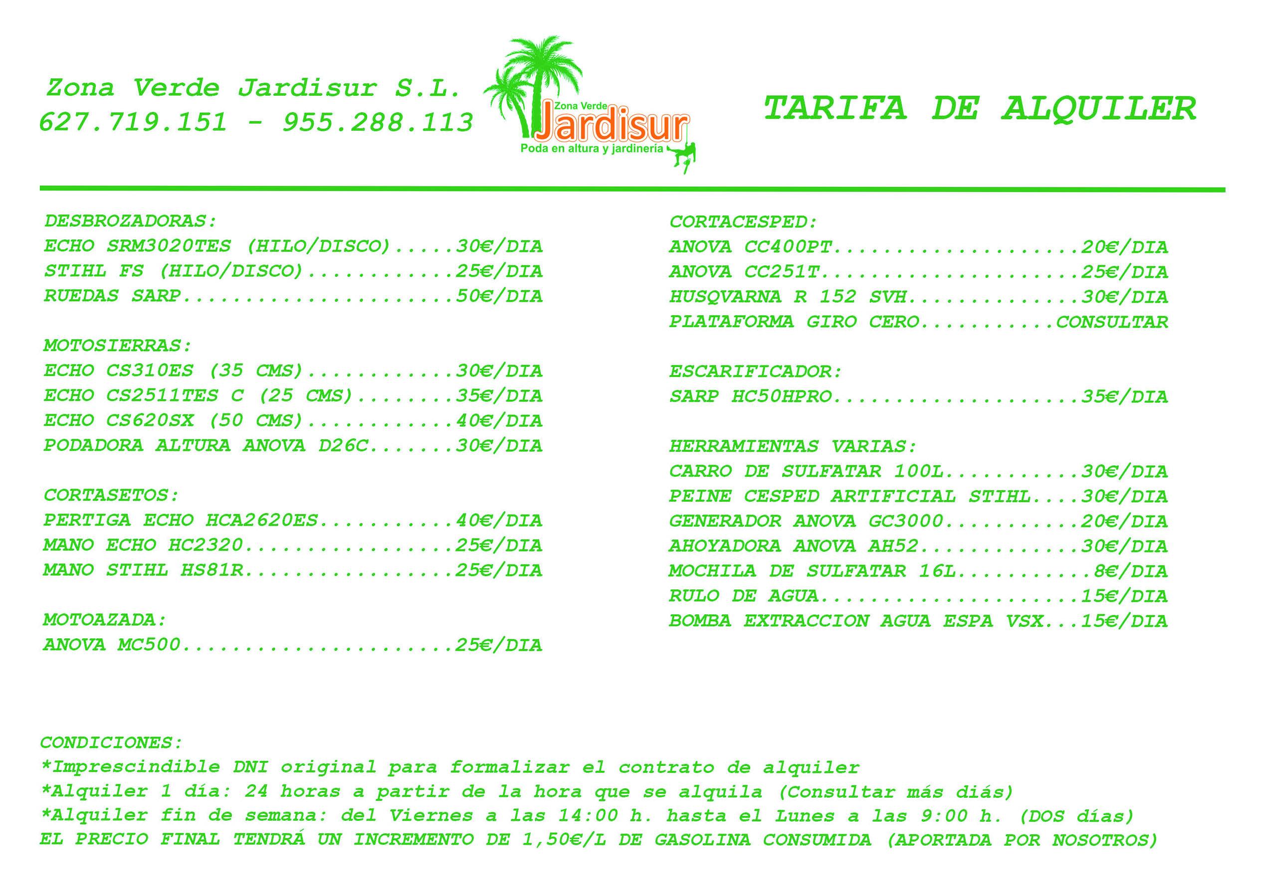 Tarifa Alquiler Maquinaria 2021